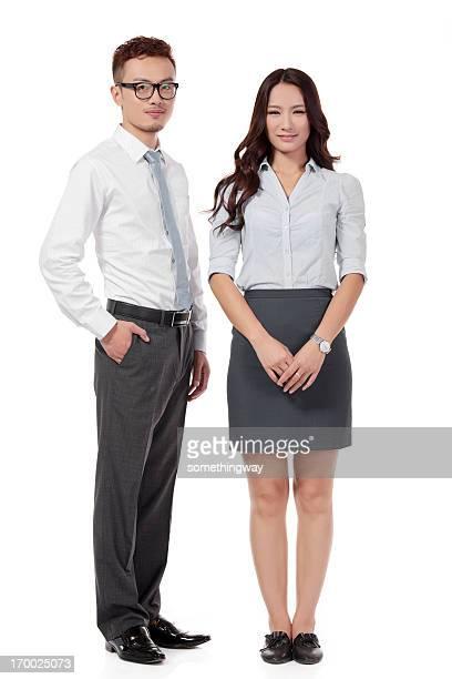Businesswomen and Businessman Team on white
