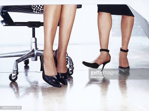 Businesswomen at desk, low section