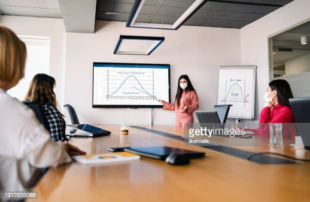 businesswomen discussing on total quality management and  6 sigma methodology in the office - total look stock pictures, royalty-free photos & images