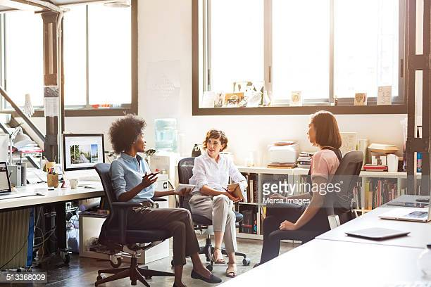 Businesswomen discussing plan