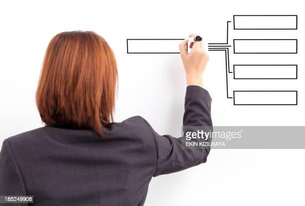 Businesswomen drawing empty chart