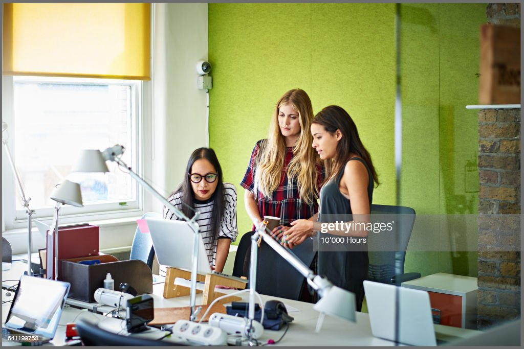 Businesswomen in a start-up office evaluating information on a laptop : Stock Photo