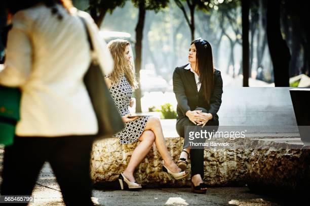 Businesswomen in informal meeting in city park