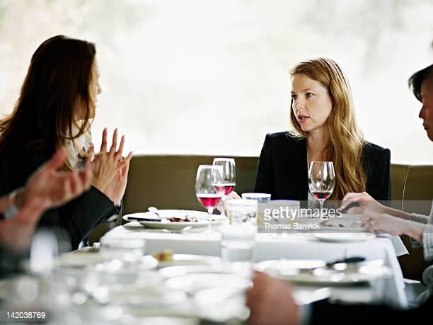 Businesswomen in restaurant having meeting