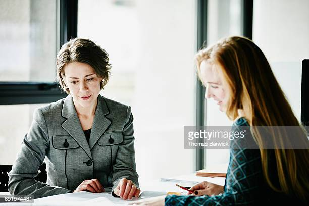 Businesswomen reviewing project at workstation