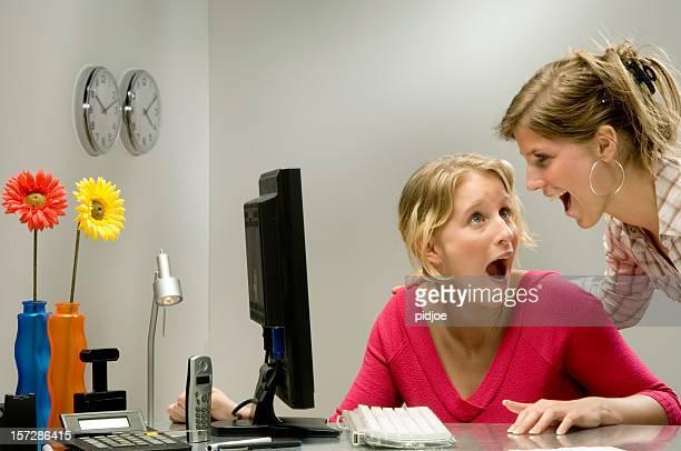 businesswomen screaming in the office