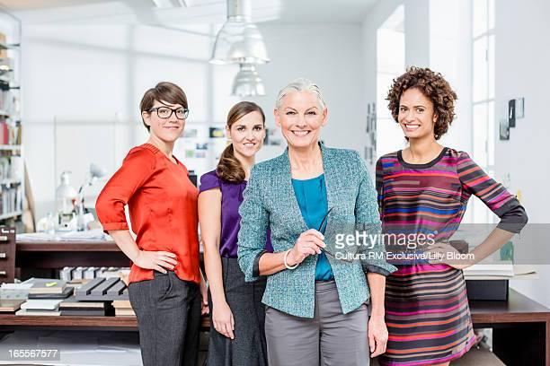 Businesswomen smiling in office