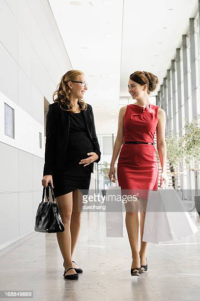 Businesswomen talking in lobby