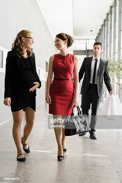 Businesswomen talking in lobby