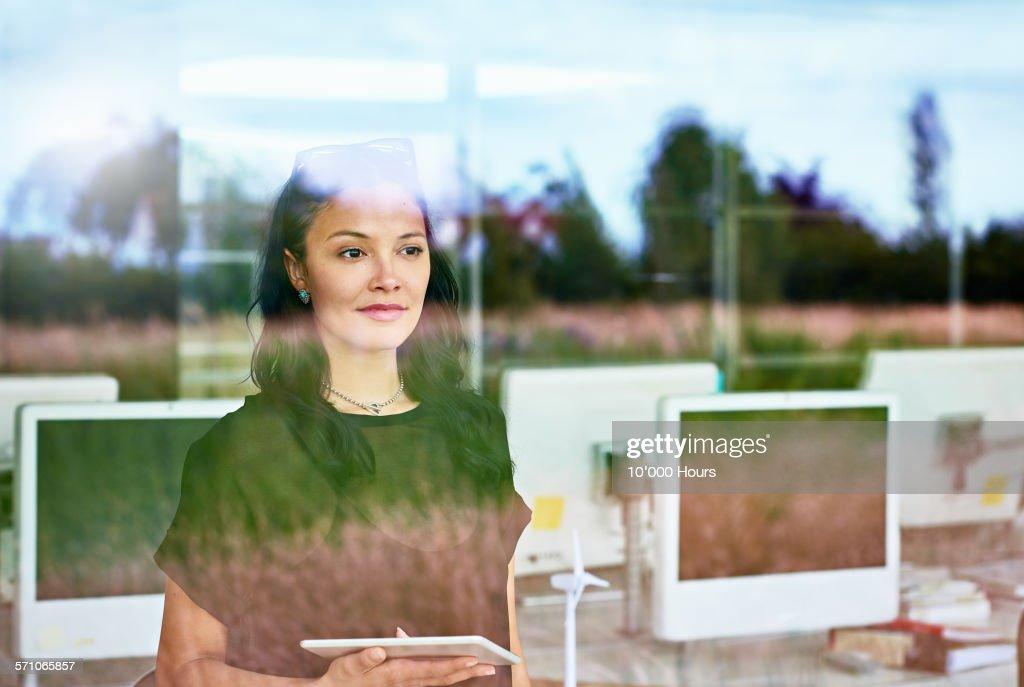 Businesswomen thinking about the future : Stock Photo