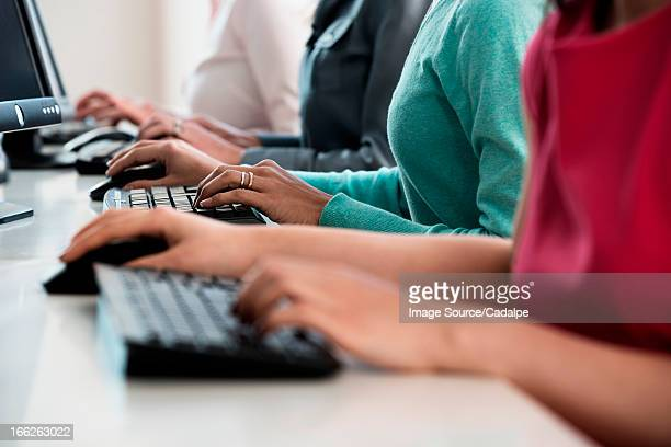 Businesswomen working at computers