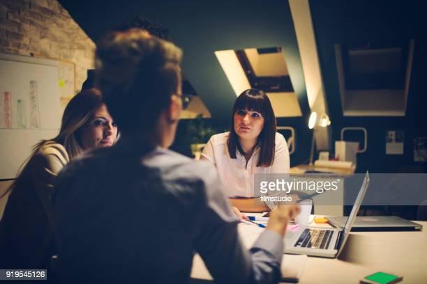 Businesswomen Working Late