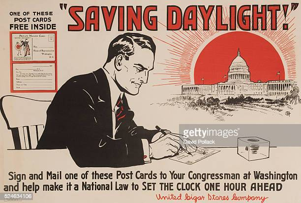 Businssman writing card to his Congressman offeringhis support of daylight savings ca 1917 produced by the United Cigar Stores Company