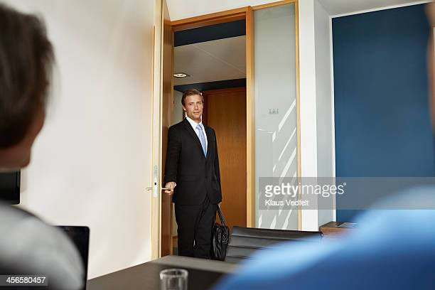 Busisenessman walking in to job interview