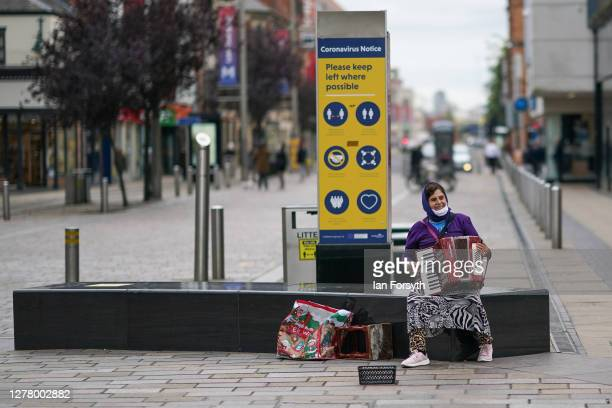Busker plays to less crowds than usual in Middlesbrough centre on October 02, 2020 in Middlesbrough, England. The mayor of Middlesbrough, Andy...