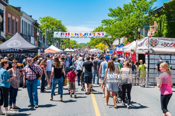 buskerfest in downtown dundas ontario canada - traditional festival stock pictures, royalty-free photos & images