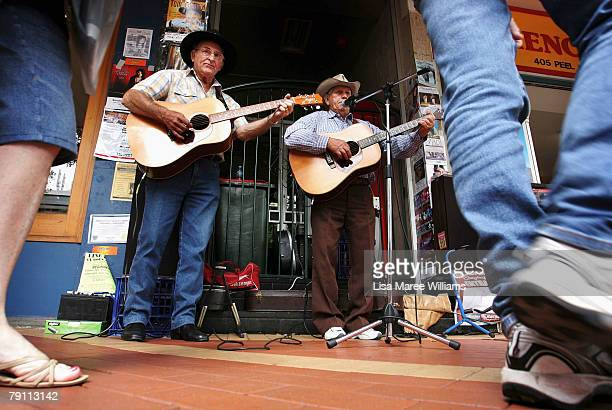 Busker's perform on Peel Street during the 36th Tamworth Country Music Festival on January 19 2008 in Tamworth Australia The most famous of Golden...