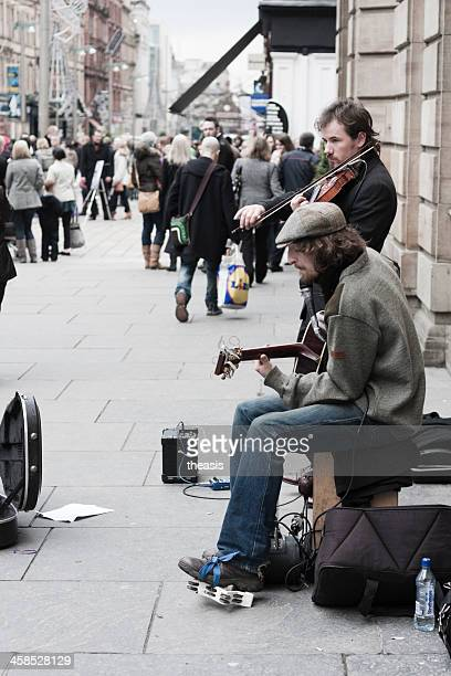 Buskers Performing In Glasgow City Centre