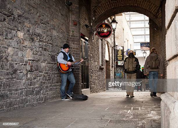 busking in dublin - temple bar dublin stock photos and pictures