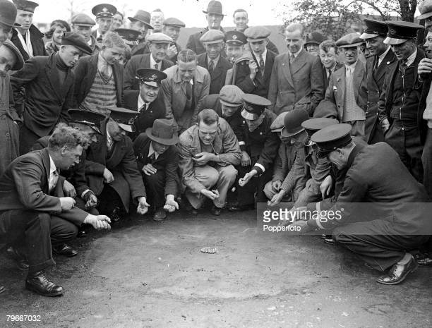 Busmen from the Crawley Sussex depot at the Tinsley Green Surrey marbles match v Tinsley Green 19th April 1935