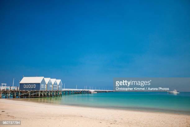 busselton jetty, geographe bay, cape naturaliste, western australia - western australia stock photos and pictures