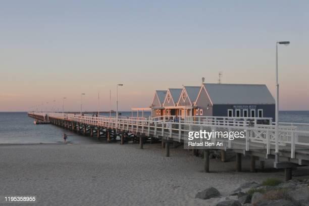 busselton jetty in busselton city in western australia - rafael ben ari stock-fotos und bilder