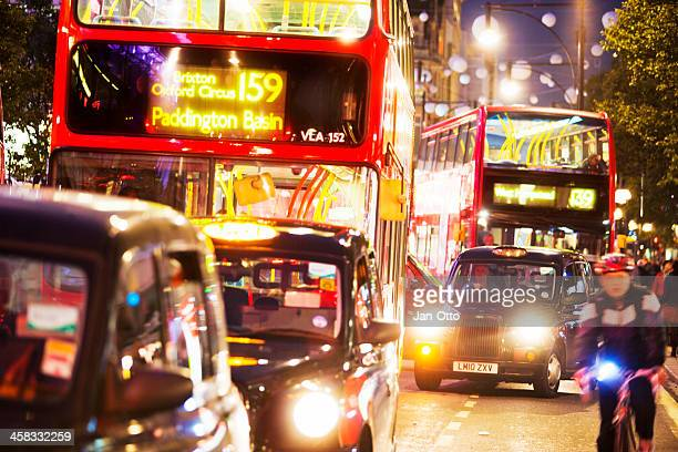 Busses and cabs in London`s Oxford street