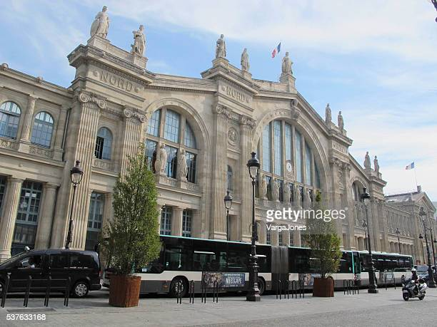 busses at the gare du nord - gare du nord stock pictures, royalty-free photos & images