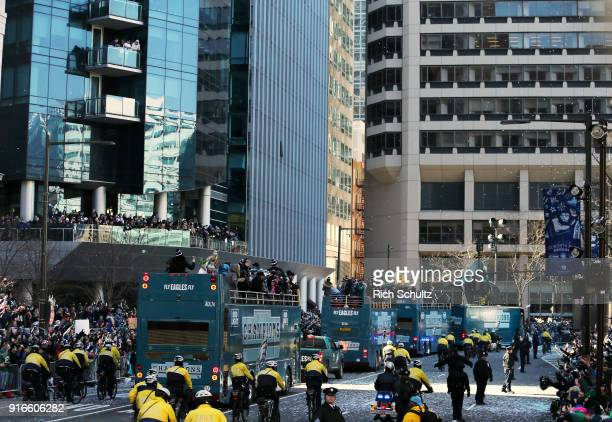 Busses with Philadelphia Eagles players during their Super Bowl Victory Parade on February 8 2018 in Philadelphia Pennsylvania
