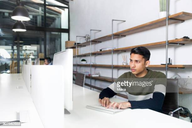 Bussinesman using computer in the office