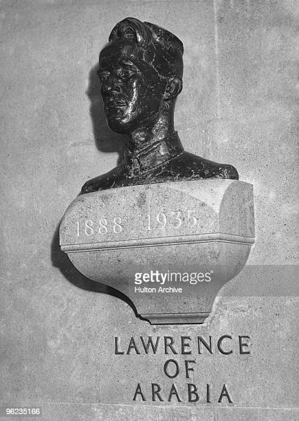 A bust by war artist Eric Kennington of British soldier adventurer and author T E Lawrence in the crypt at St Paul's Cathedral London circa 1940...