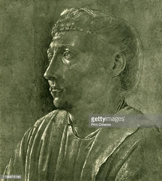 """Bust of a cleric, circa 1450, . Head of a man, possibly St Lawrence. Drawing in the Royal Collection. From """"Europäische Handzeichnungen"""", , by..."""