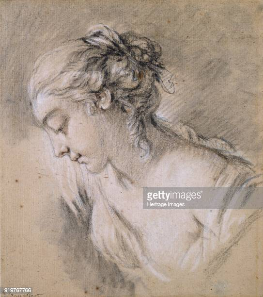 Bust of a Girl in profile to left mid 18th century Artist Francois Boucher