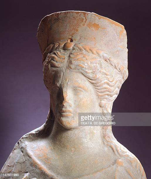 Bust of a goddess terracotta statue from Dyrrachion now Durres Detail Greek Civilization 3rd Century BC Tirana Museo Archeologico