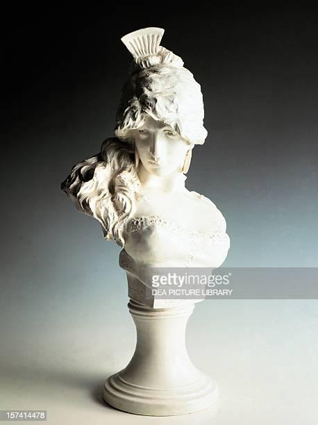 Bust of a woman on a pedestal Dutch white clay Quaglino and Poggi manufacture Albisola Liguria Italy 19th century