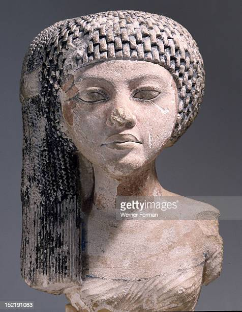 Bust of a young woman possibly a daughter of Akhenaten or an Amarna princess in the court of King Smenkhkare or Tutankhamun She wears her hair in the...