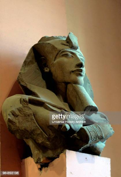 Bust of Akhenaten found in the Precinct of the Aten at Karnak Sandstone 18th Dynasty Reign of Akhenaten Part of a statue which was one of a series of...