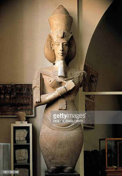 Bust of Akhenaten sandstone statue from the temple Amon at Karnak Egyptian Civilisation New Kingdom Dynasty XVIII Cairo Egyptian Museum