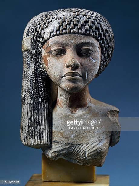Bust of Akhenaten's daughter painted limestone statue 154cm x 101cm Egyptian Civilisation New Kingdom Dynasty XVIII Paris Musée Du Louvre
