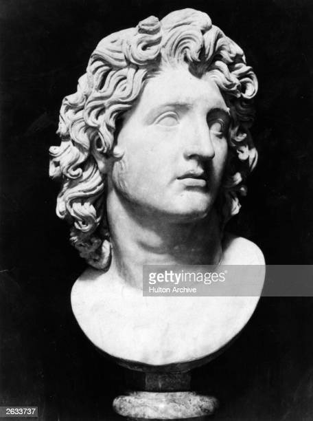 A bust of Alexander the Great king of Macedonia son of Philip II of Macedon and Queen Olympias circa 330 BC The sculpture was found in the Roman...