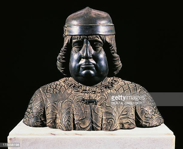 Bust of Alfonso of Aragon ca 1490 by Guido Mazzoni bronze sculpture height 42 cm Italy 15th century Naples Museo Nazionale Di Capodimonte