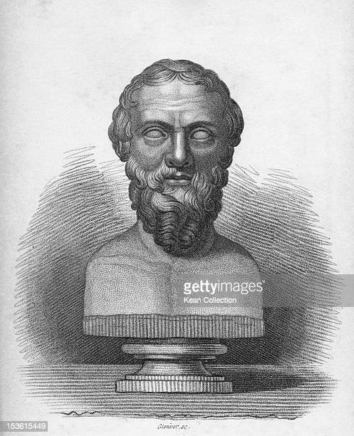 Bust of ancient Greek historian Herodotus , known as 'The Father of History', circa 1850. Engraving by Gimber.
