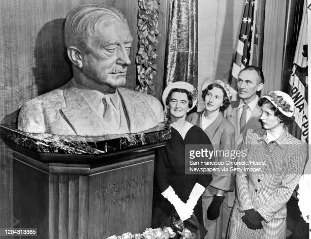 Bust of A.P. Giannini, founder of the Bank of America extreme left Mrs. Clifford P. Hoffman, Miss Ann Giannini, artist Holger Jensen, Miss Virginia...