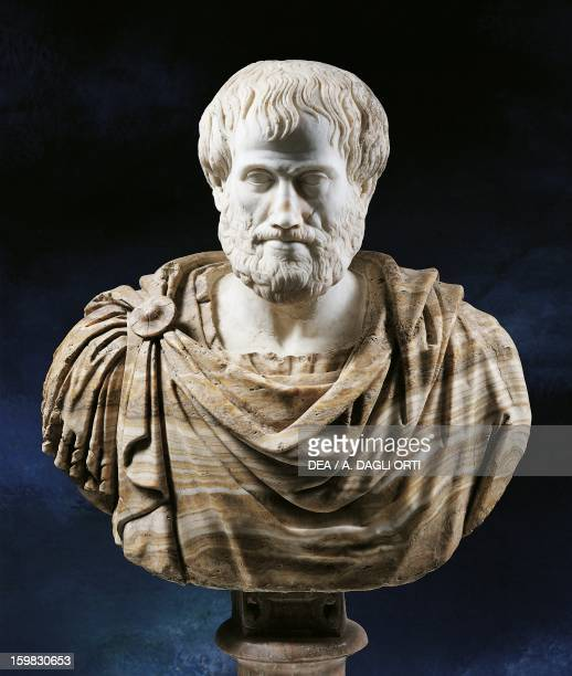 Bust of Aristotle Greek philosopher and scientist Marble sculpture from the age of Hadrian with the addition of an alabaster cape in the Modern Age...