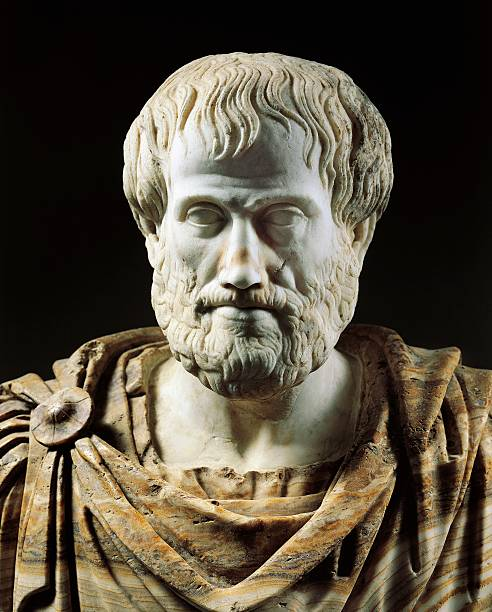 Bust of Aristotle , Greek philosopher and scientist. Marble sculpture from the age of Hadrian, with the addition of an alabaster cape in the Modern...