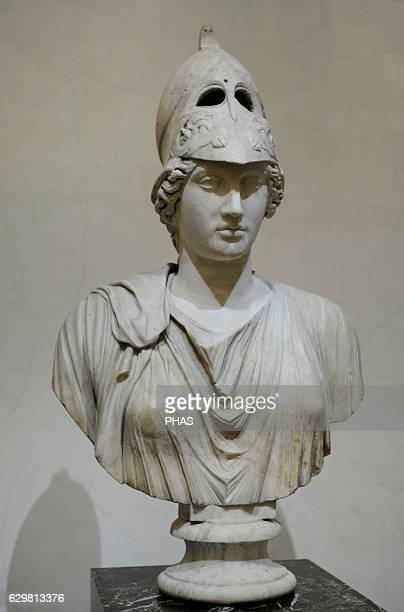 Bust of Athena goddess of wisdom and just war patroness of crafts Roman work 2nd c AD After the Greek original of the late 5th c BC The State...