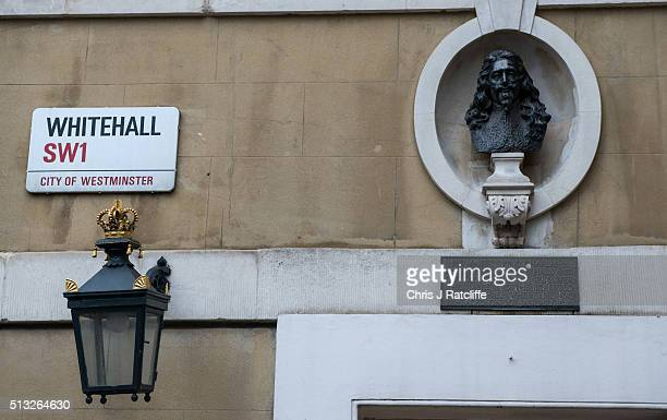 Bust of Charles 1st sits above the entrance to Banqueting House during restoration work on March 1, 2016 in London, England. The Banqueting House is...