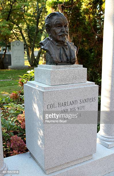 Bust of Colonel Harland Sanders founder of Kentucky Fried Chicken at his gravesite at Cave Hill Cemetery on October 04 2014 in Louisville Kentucky