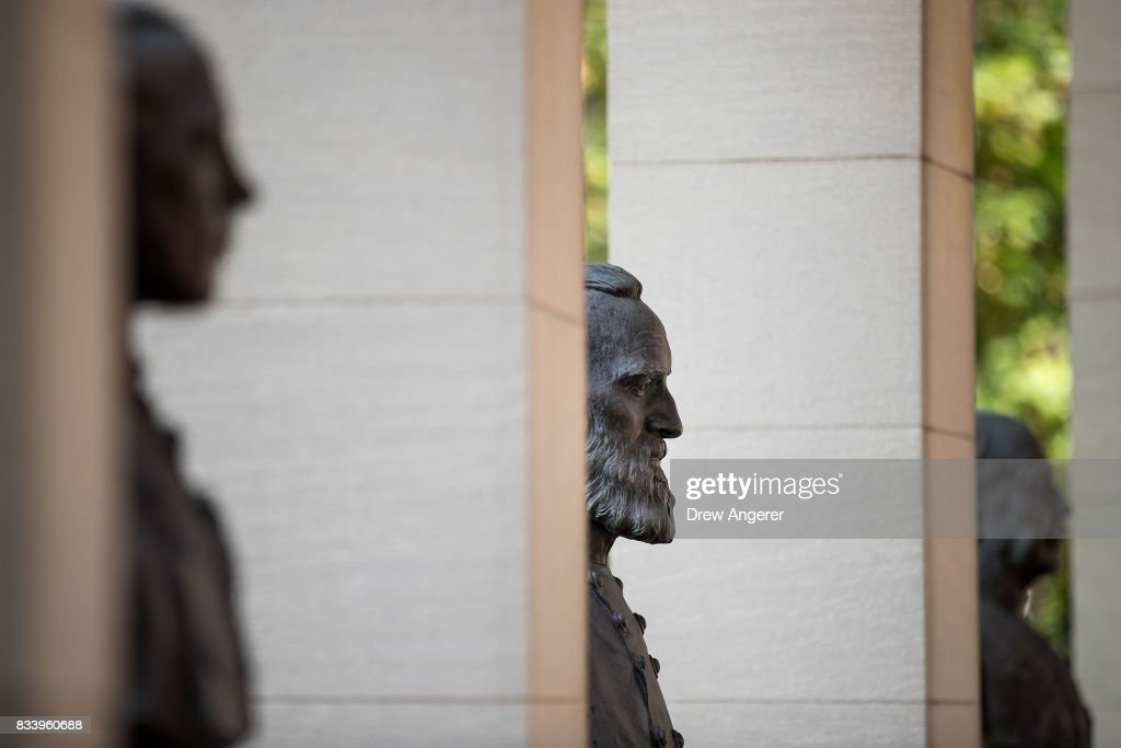 A bust of Confederate general Stonewall Jackson (C) stands in the 'Hall of Fame for Great Americans' on the campus of Bronx Community College, August 17, 2017 in the Bronx borough of New York City. On Wednesday night, the school announced the statues of Robert E. Lee and Confederate general Stonewall Jackson will be replaced and removed.