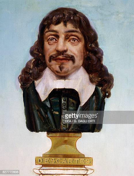 Bust of Descartes illustration for the Positivist calendar miniature detail of the Temple of Humankind project to be carried out in accordance with...
